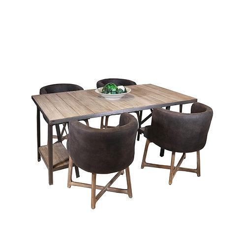 Vintage Table Natural Wood W/Metal Trim