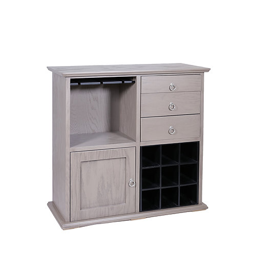 Torino Side Table With Wine Rack (Taupe)
