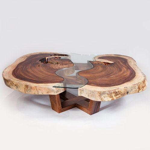 Live Edge Coffee Table With Glass