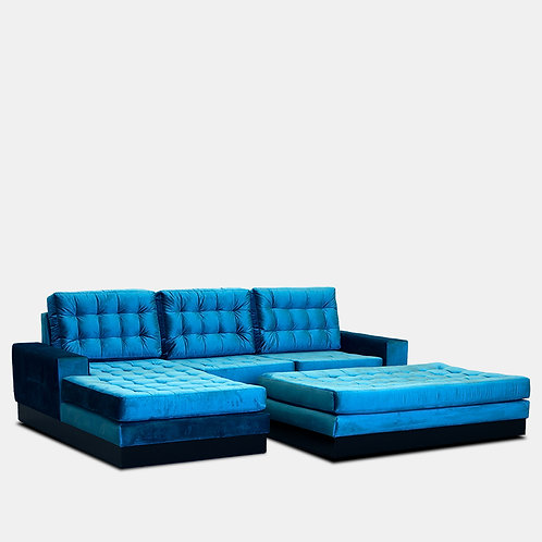 Cuba Sectional Left Side Chaise With Ottoman