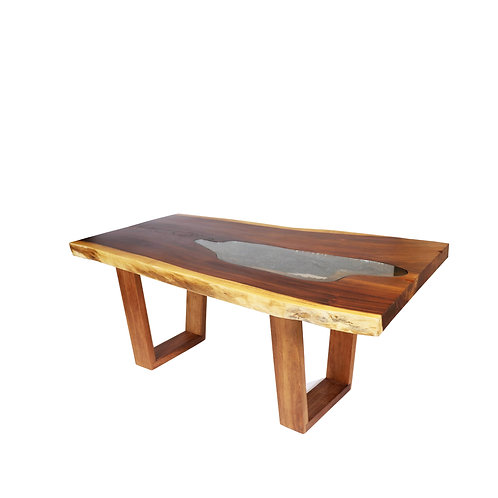 Live Edge Dinning Table With Glass #10