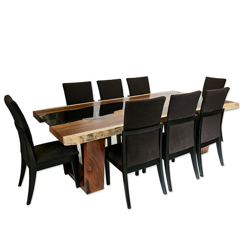 Glass Meets Wood Live Edge Dining Table