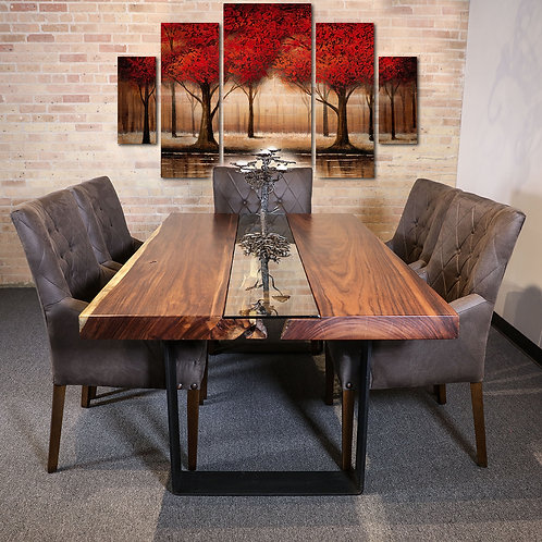 Live Edge Table with Center Straight Glass