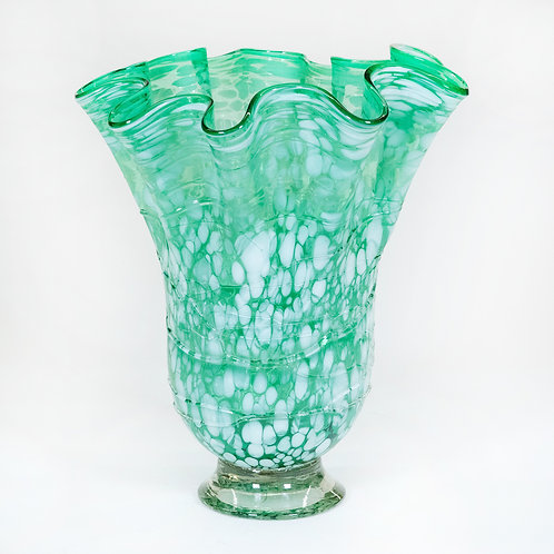 Hand Blown Glass Vase (Green/White)