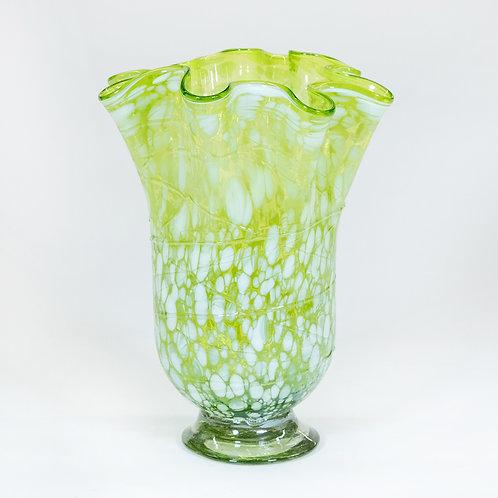 Hand Blown Glass Vase (Yellow/White)