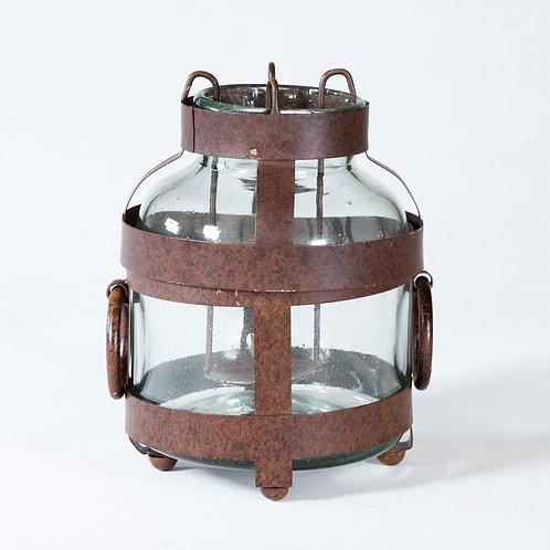 Rustic Iron and Glass Jar Lantern
