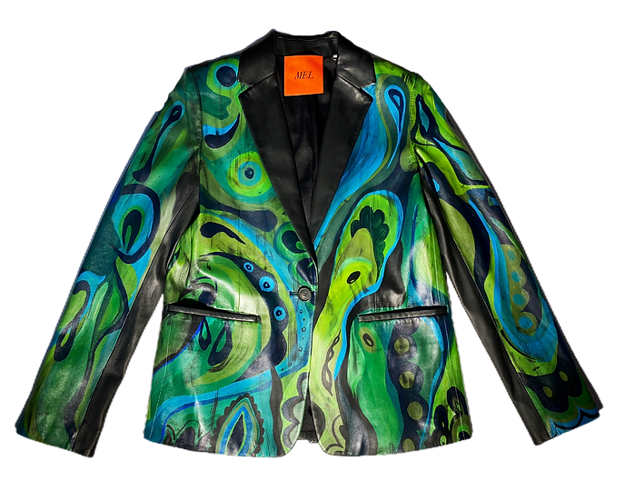 Psychedelic Green Wave Leather Blazer