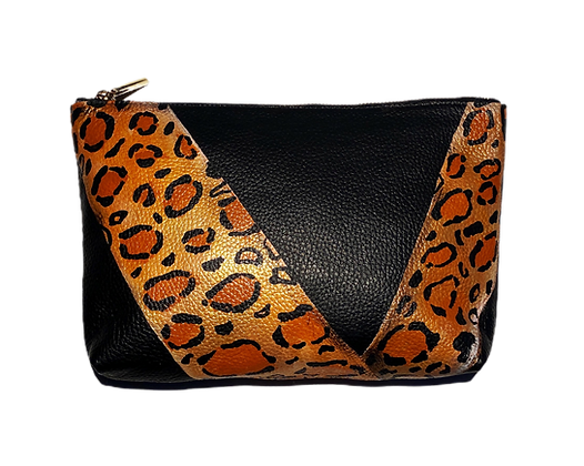 Angular Cheetah Leather Clutch Bag