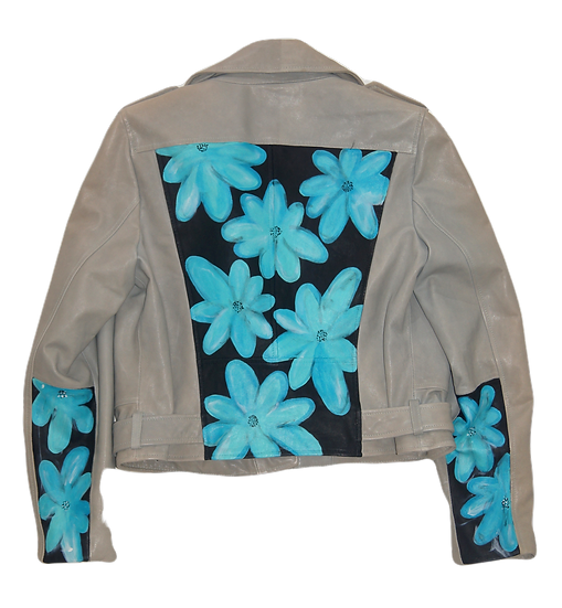 Warhol-Inspired Tiffany Blue Floral Color Blocking Leather Motorcycle Jacket