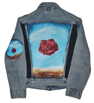 Dali-Inspired Rose Luxury Jean Jacket