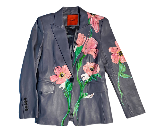 Surreal Pink Flower Leather Blazer