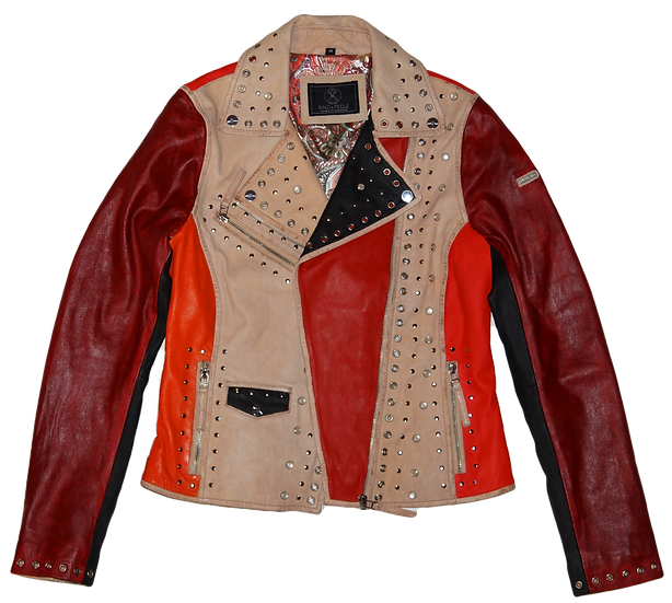 Rock'N Roll  Red Color Blocking Studded Leather Jacket