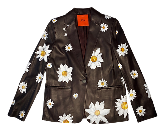 All Over Daisies Leather Blazer Jacket