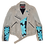 Thumbnail: Warhol-Inspired Tiffany Blue Floral Color Blocking Leather Motorcycle Jacket