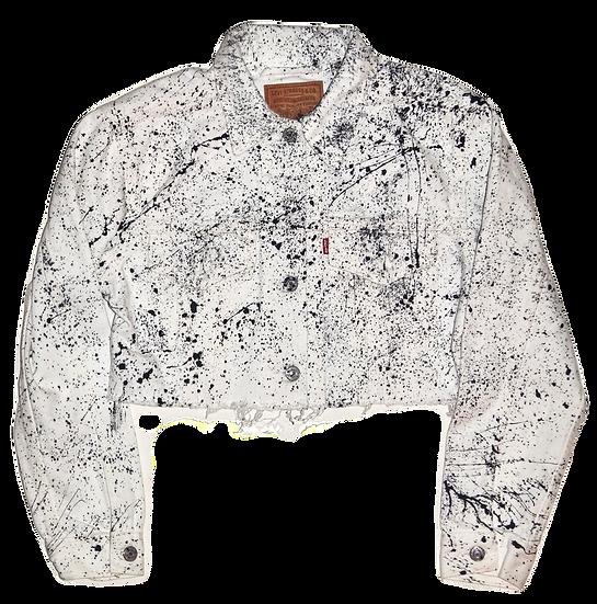 Pollack-Inspired White Splatter Levi Cropped Jean Jacket