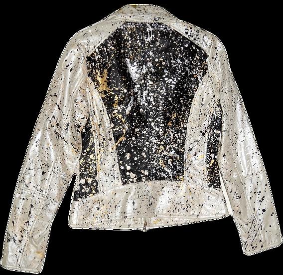 Pollack-Inspired Metallic Splatter + Color Blocked Luxury Leather Jacket