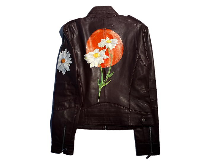 Sunset Daisy Leather Motorcycle Jacket