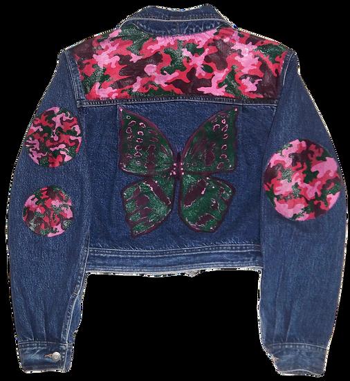 Butterfly&Camo Vintage Belted Denim Jacket