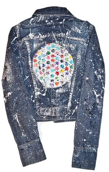 Pollack-Inspired Metallic Polka Dot Splatter Luxury Jean Jacket