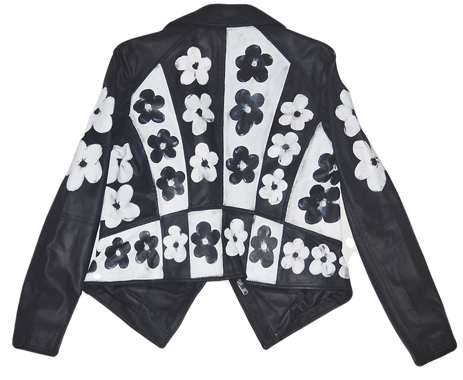 Warhol-Inspired Black & White Floral Leather Jacket