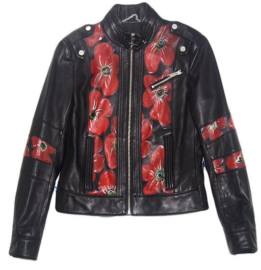 Expressionistic Red Floral Luxury Designer Leather Jacket