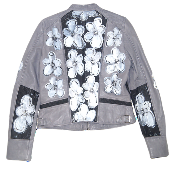 Warhol-Inspired White Floral Color Blocking Leather Motorcycle Jacket
