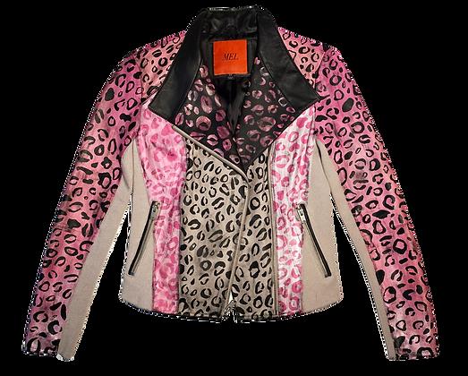 Pink Ladies Cheetah Leather Moto Jacket