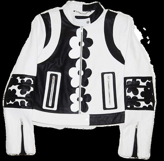 Warhol-Inspired Black & White Floral Leather Moto Jacket