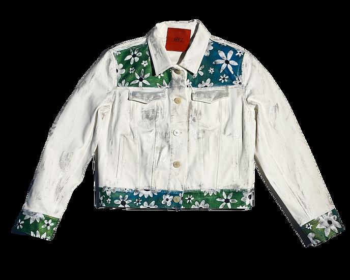 Metallic Blues Floral Jean Jacket