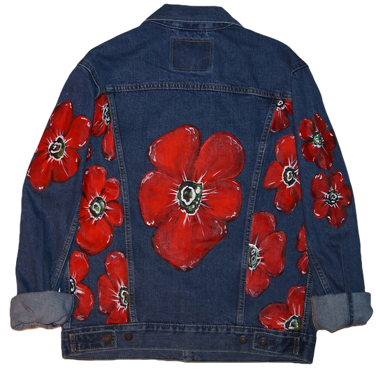 Red Floral Levi Denim Jacket