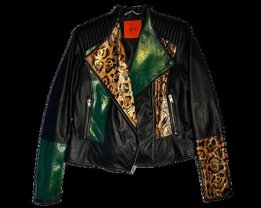 Punk Green Cheetah Leather Moto Jacket