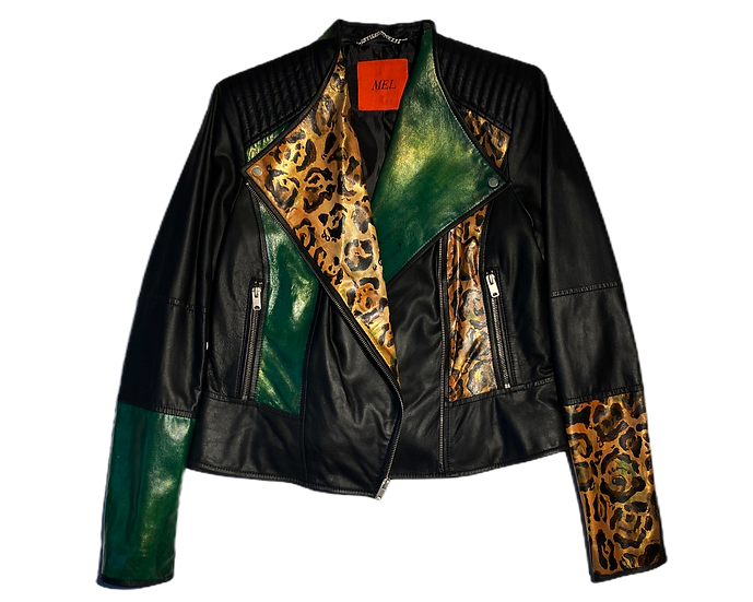 Rock&Roll Green/Cheetah  Leather Motorcycle Jacket