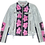 Thumbnail: Warhol-Inspired Pink Floral Color Blocking Leather Motorcycle Jacket