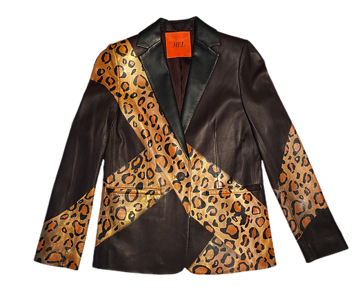Angular Cheetah Leather Blazer Jacket