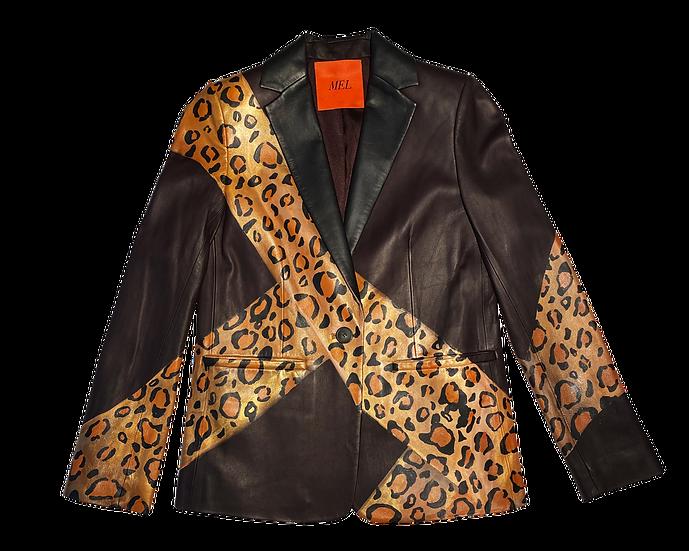 Cheetah Angular Blocking Leather Blazer