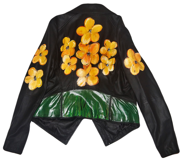 Warhol-Inspired Yellow Floral Light Weight Motorcycle Jacket