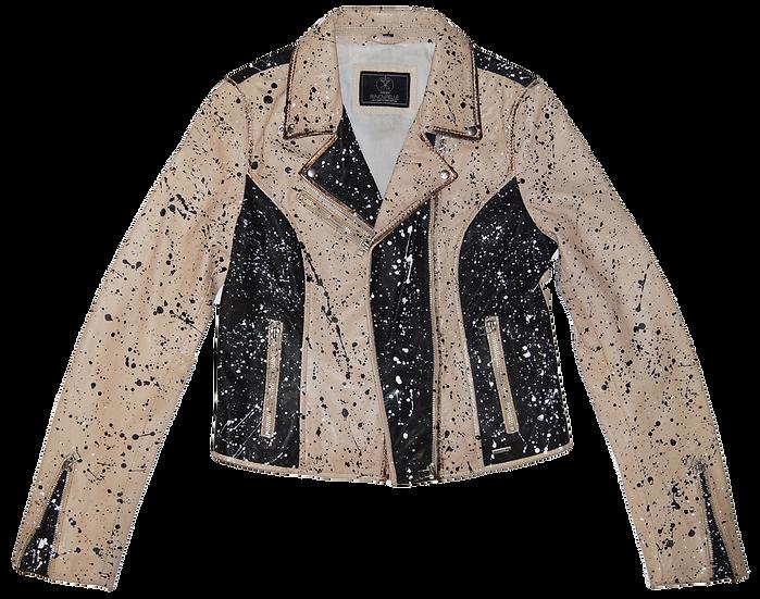 Pollack-Inspired Splatter Leather Motorcycle Jacket