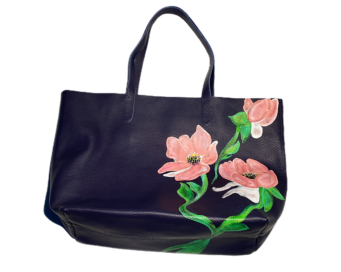 Surreal Pink Flower Leather Tote