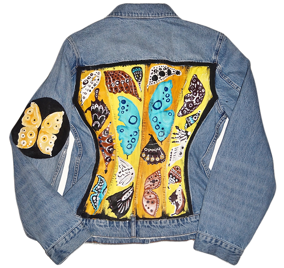 Damien Hirst-Inspired Butterfly Alexander Wang Fitted Denim Jacket