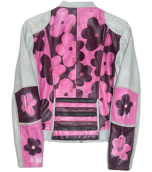 Warhol-Inspired Pink Floral Color Blocking Leather Motorcycle Jacket