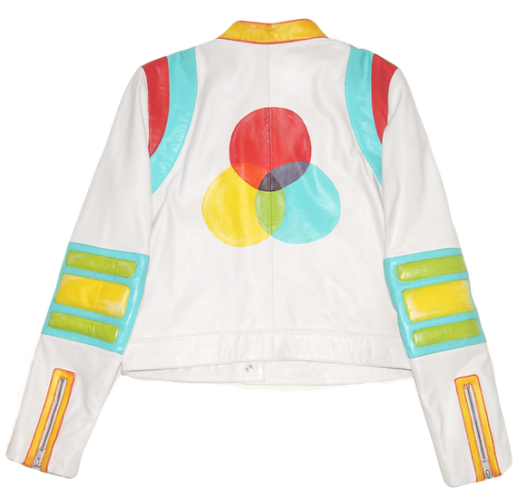 Twister Color Blocking Leather Racing Jacket