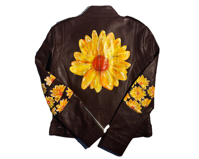 Sunburst Daisy Leather Motorcycle Jacket