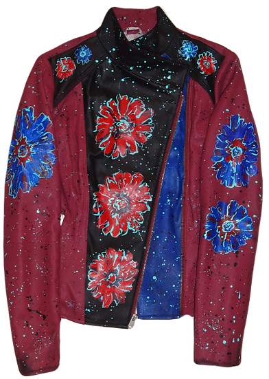 Expressionistic Blue/Red Flower Painted Luxury Leather & Wool Jacket