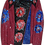 Thumbnail: Expressionistic Blue/Red Flower Painted Luxury Leather & Wool Jacket