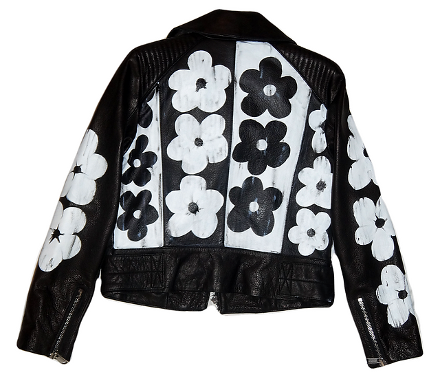 Warhol-Inspired White & Black Motorcycle Jacket