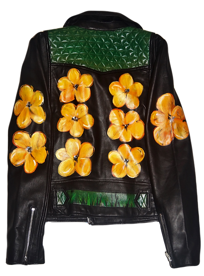Warhol-Inspired Yellow Floral Designer Luxury Moto Leather Jacket