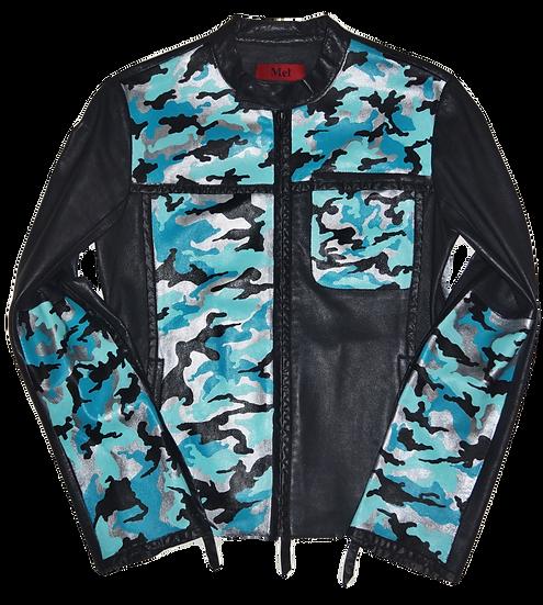 Ice Blue Metallic Camouflage Vintage Diesel Leather Jacket