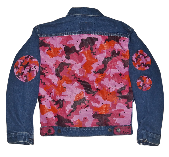 Warhol-inspired Pink Camo Vintage Denim Jacket