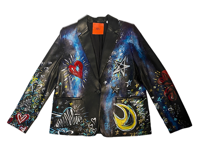 Galaxy Of Love Leather Blazer