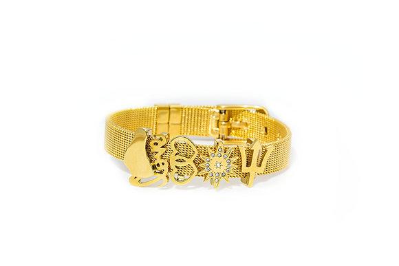 Gold Charm Mesh Bracelet